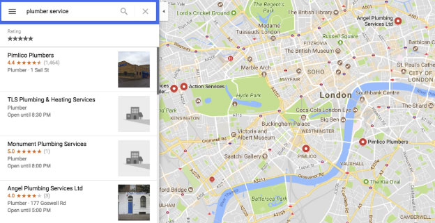 plumber services on Google map