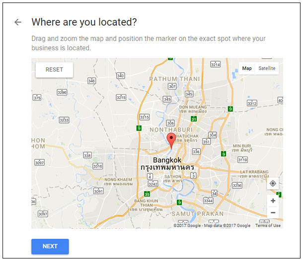 Google map location setting
