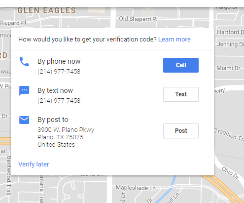 Google Maps listing verification options