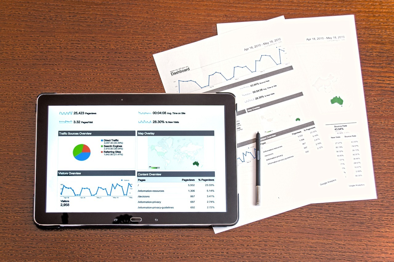 small business marketing analytics on a table