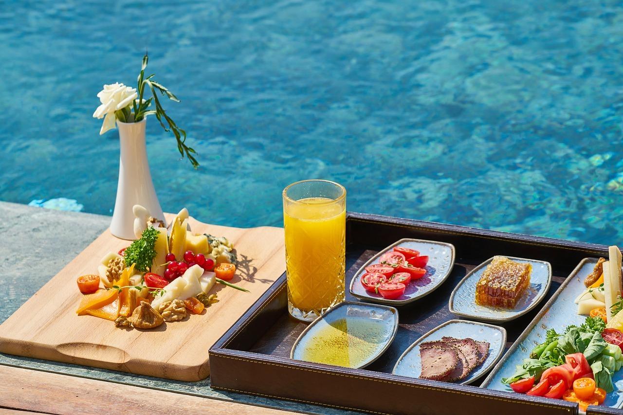 vegan breakfast by the pool