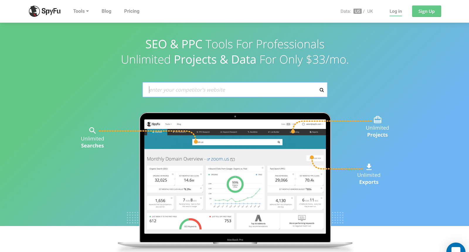 spyfu enables accurate competative seo research